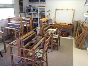 Looms in weaving studio