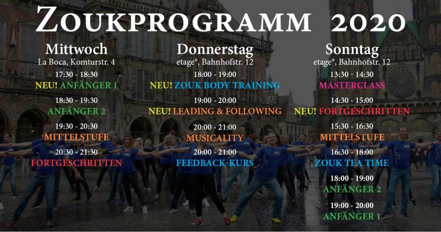 Zoukkurse in Bremen - Programm 2020