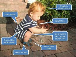 Picture of toddler performing a perfect squat. Good form running.