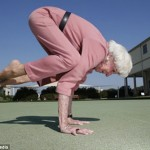 older lady crow pose. it's because i'm getting old