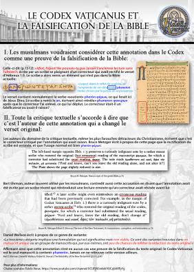 Le Codex Vaticanus et la falsification de la Bible