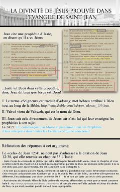 La divinité de Jésus prouvée dans l'Evangile de Saint Jean