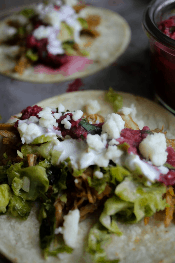 Close up of leftover turkey taco.