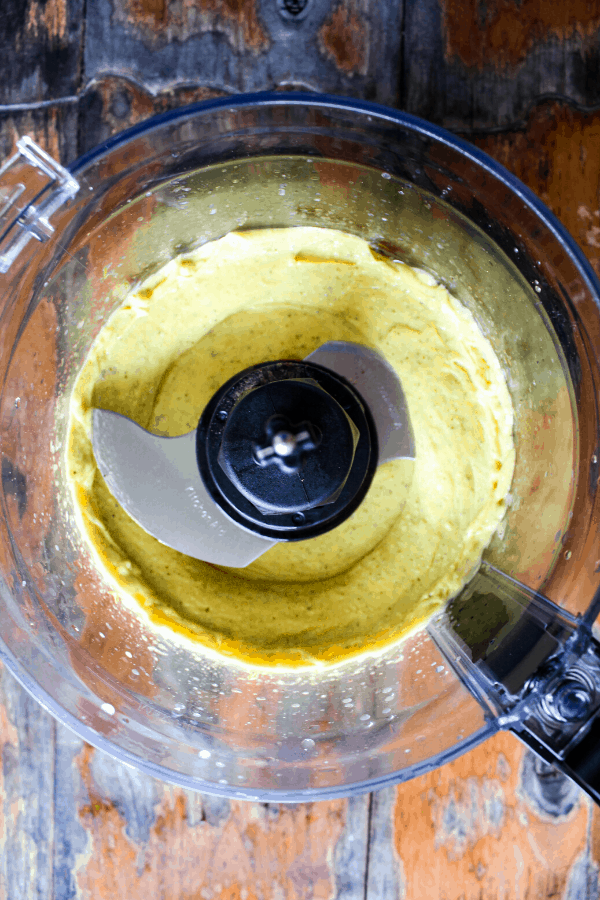 Aioli in food processor shot from above.