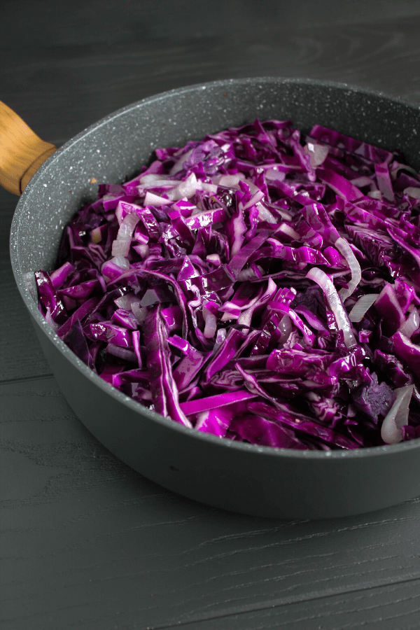 Sauté pan with gently sautéed red cabbage.