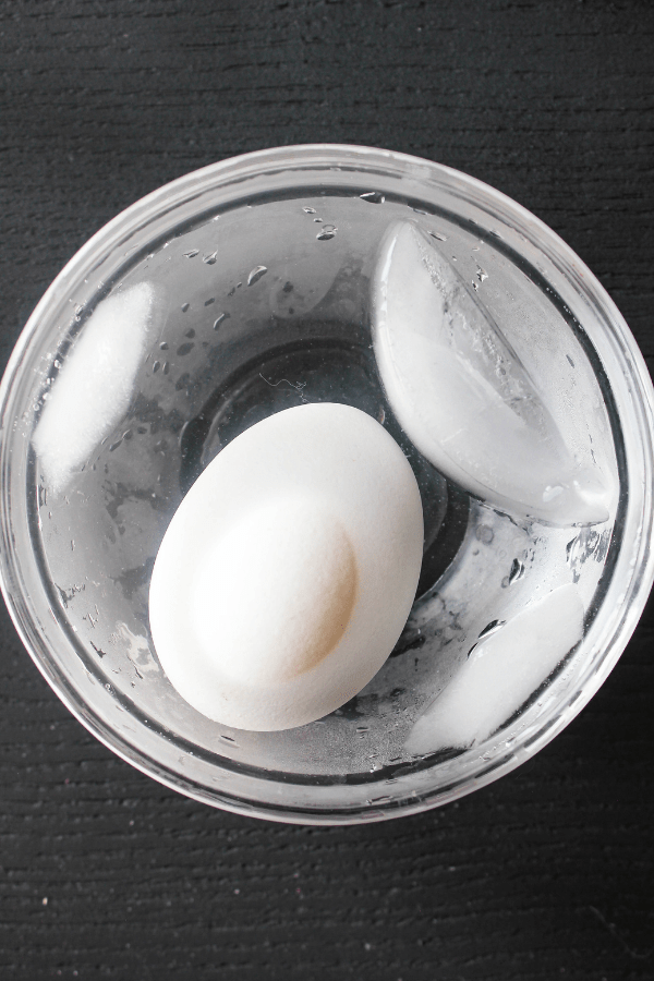 Top down shot of a small glass bowl with a single egg and ice cubes.