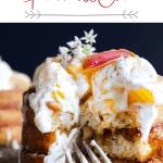 Pinterest graphic of churro waffles w/ peaches and cream.