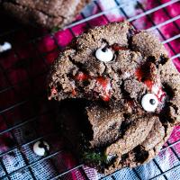 Double Chocolate Crinkle Cookies w/ Zombie Blood (AKA Caramel)