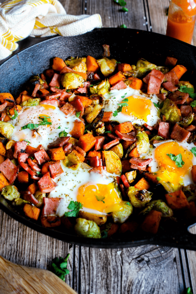 Pan full of sweet potato Brussels sprout hash.
