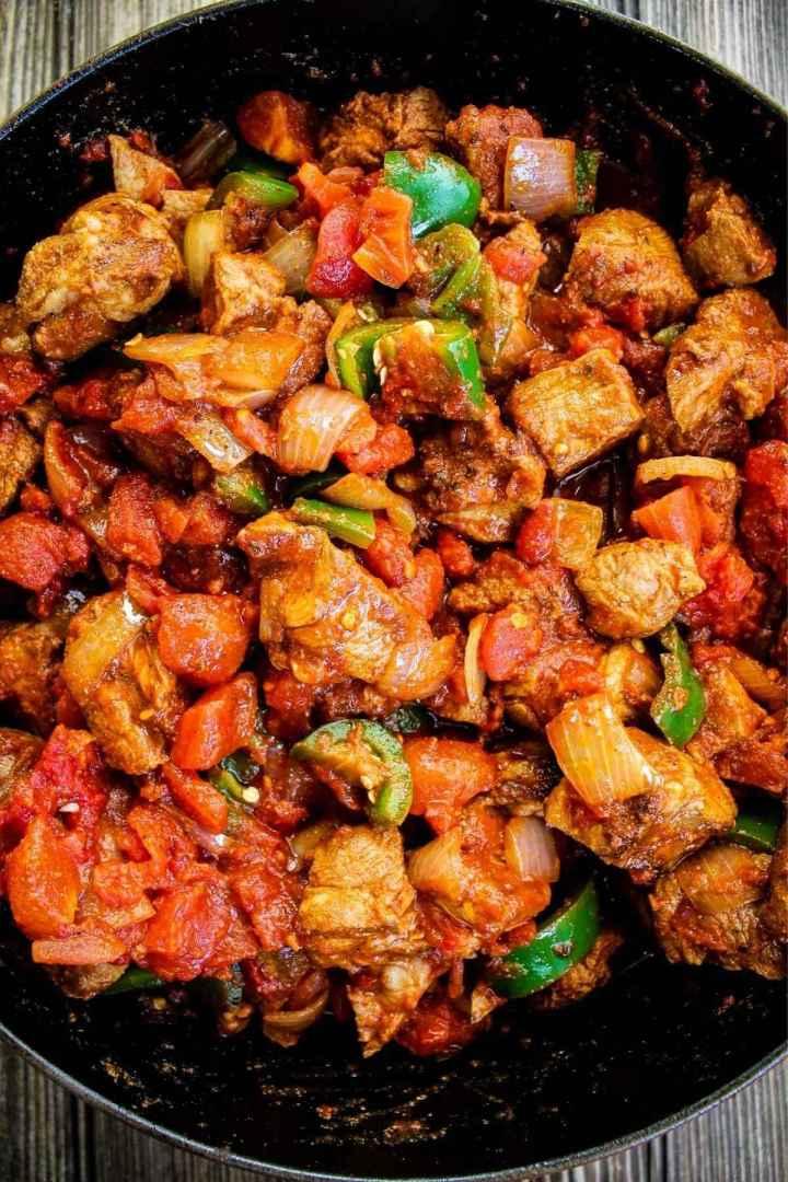 Spicy pork chili prior to baking.