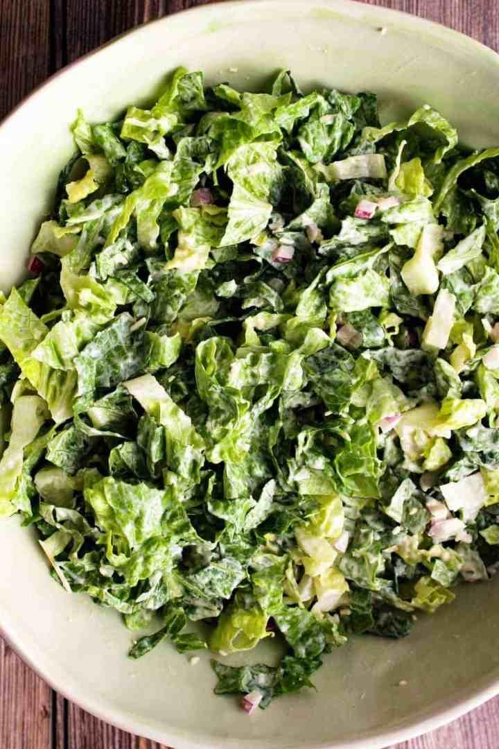 Caesar salad in bowl.