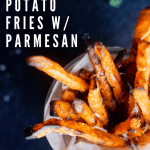 Pinterest graphic for truffle sweet potato fries with parmesan.