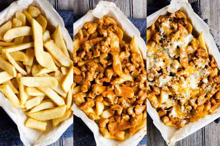 Three stages of buffalo chicken fries compilation.