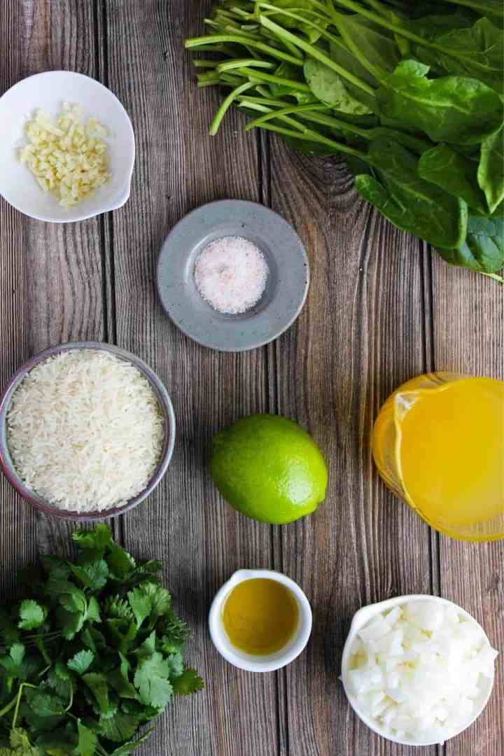 Ingredients for cilantro lime spinach rice (see recipe card).