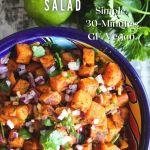 Pinterest graphic for cilantro lime sweet potato salad.