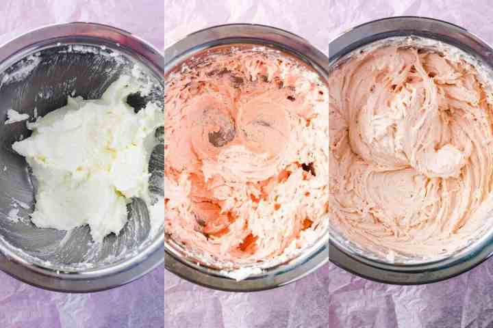 Three stages of strawberry cake batter.