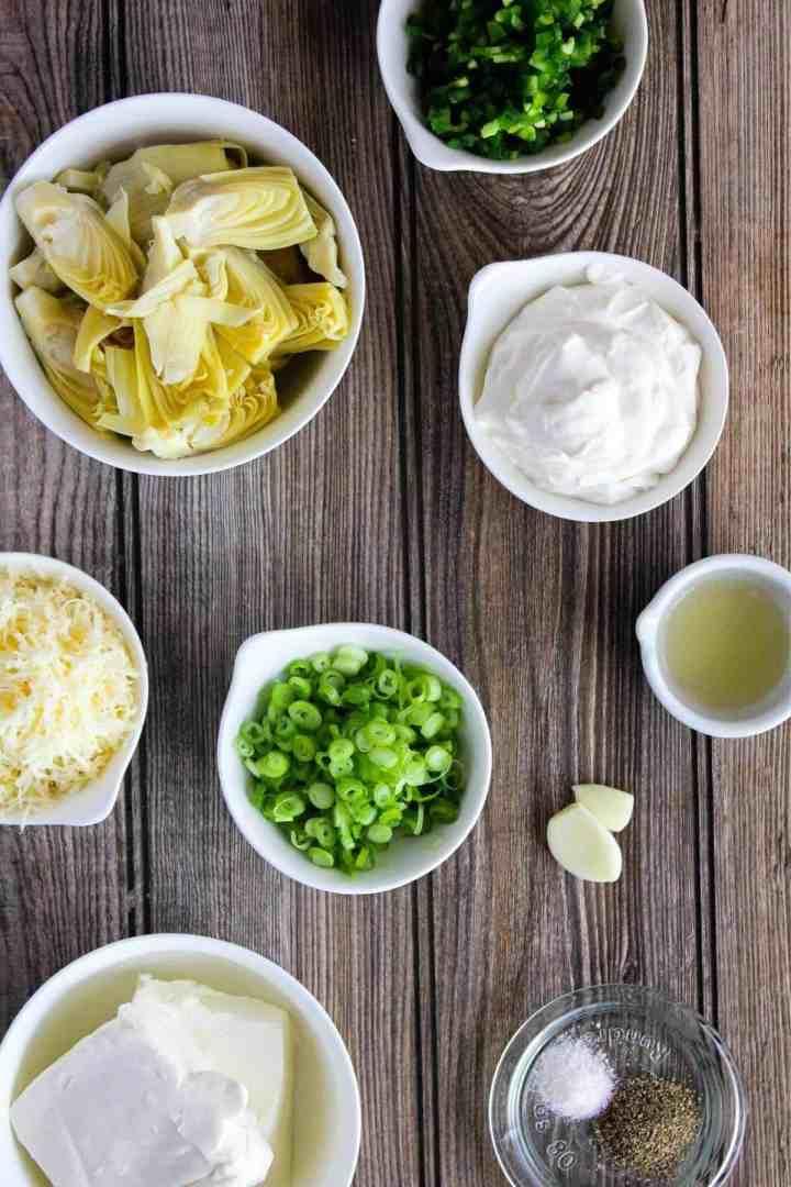 Ingredients for jalapeno artichoke dip (see recipe notes).