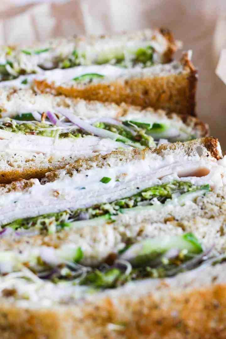 Sandwich halves up close.