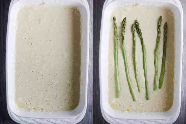 Tempura batter with asparagus.