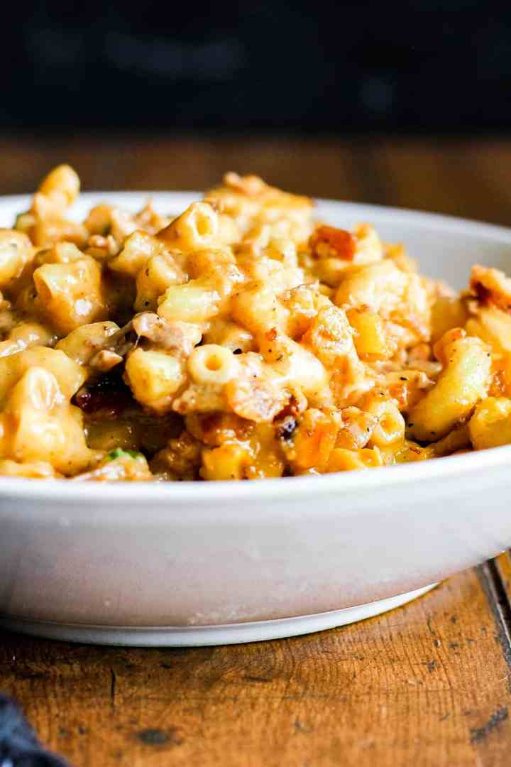 Bowl of bbq mac and cheese.