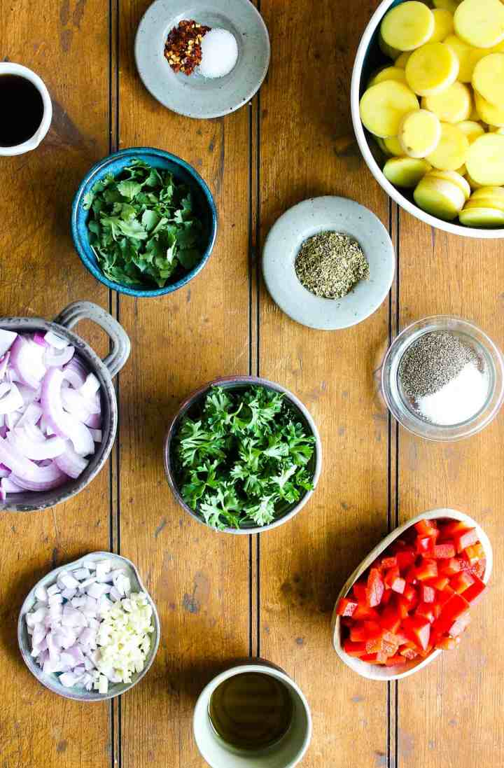 Ingredients for chimichurri potato salad (see recipe card).