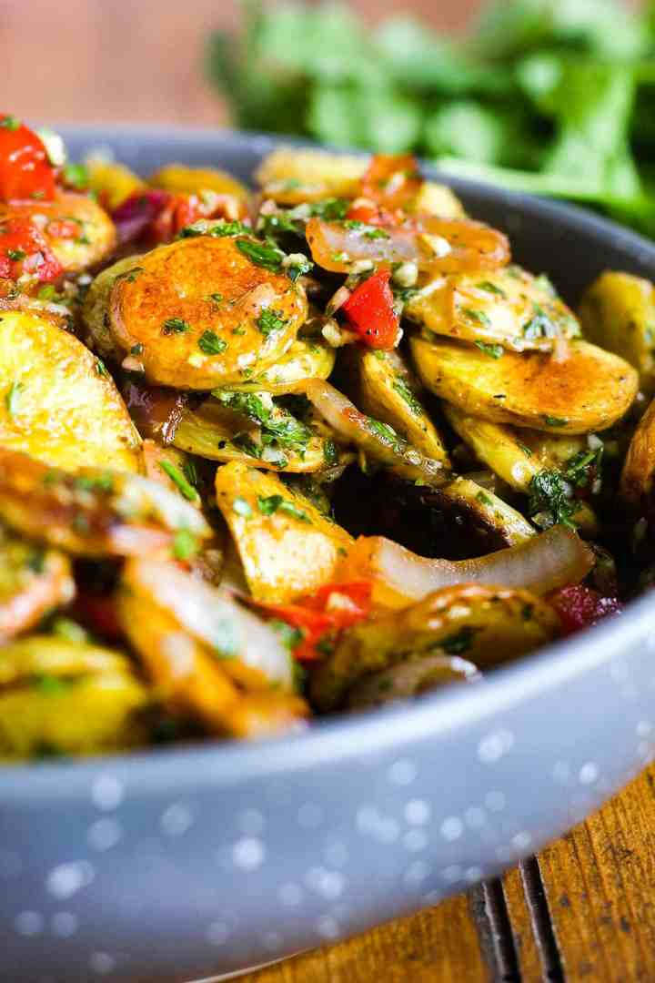Close-up of potato salad.