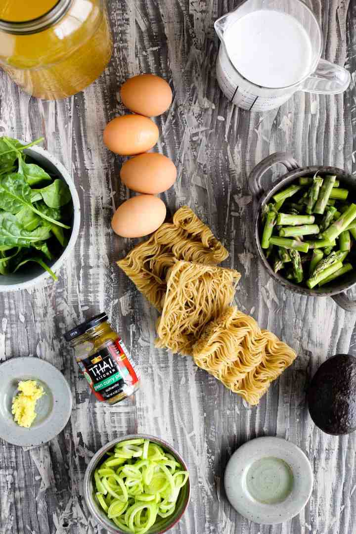 Ingredients for green curry ramen with spring vegetables (see recipe card).