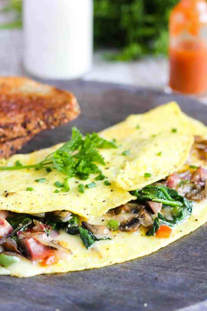 Close-up of loaded omelette.