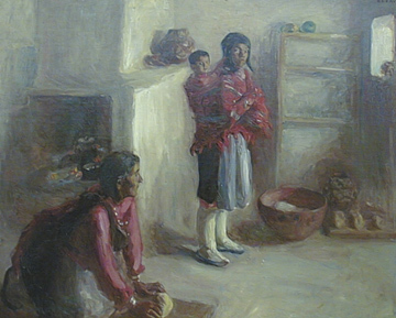 """Alice Cleaver, Indian Home Life, Zuni, Oil on Canvas, 1907, 35"""" x 43"""""""