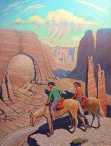"Ferdinand Burgdorff, The Wayfarer, Oil on Canvas, 40"" x 30"""