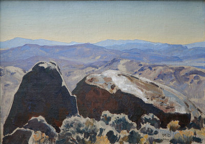 "Maynard Dixon (1875-1946) South from Quartz Mountain, October 1927, Oil on Canvas Board, 10"" x 14"""