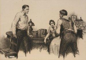 "William Henry Dethlef Koerner, Drawing for Lucky Devil, Charcoal on Paper, c. 1920, 19"" x 26.75"""