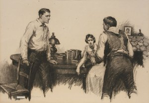 "William Henry Dethlef Koerner, Drawing for Lucky Devil, Charcoal on Paper, c. 1920, 19"" x 26.75"""
