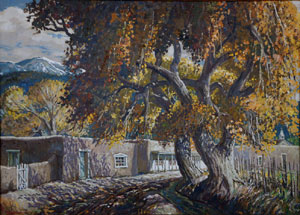 """Ben Turner, Pojaque New Mexico, Oil on Canvas, c. 1950, 26"""" x 36"""""""