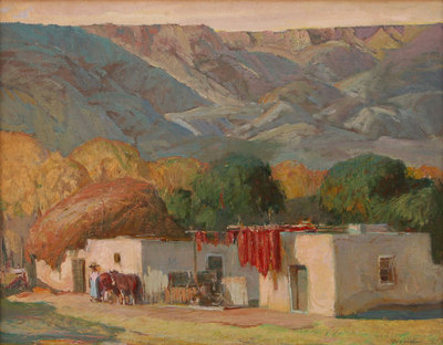 "Oscar E. Berninghaus, In the Village of Lavacita, NM, Oil on Canvas Board, c. 1920, 16"" x 20"""
