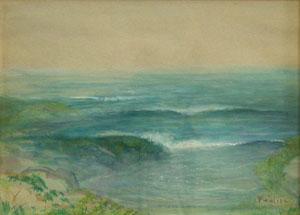 """Bert Geer Phillips, Bert-La Jolla Seascape, Watercolor on Paper, Circa 1920, 9"""" x 14"""""""
