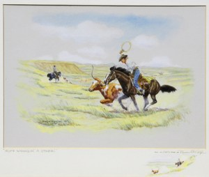 """Byron Wolfe, Rope Whangin' a Steer, watercolor, c. 1960, 16"""" x 20"""""""