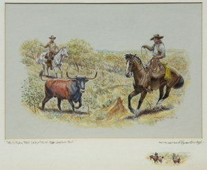 "Byron Wolfe, The Outlaw That Doesn't Run - Texas Longhorn Bull, Watercolor, c. 1960, 16"" x 20"""