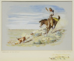 """Byron Wolfe, Wranglers Of The Cap Rock, Watercolor, c. 1960, 16"""" x 20"""""""