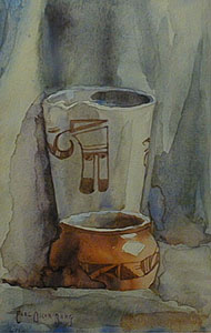 "Carl Oscar Borg, Hopi Pottery Still Life, Watercolor, 7"" x 4"""