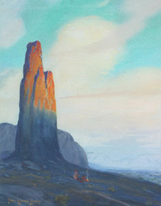 "Carl Oscar Borg, Needle Rock, Monument Valley, Gouache on Paper, c. 1920, 15"" x 11"""