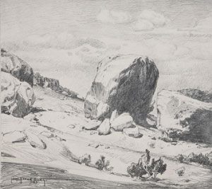 "Carl Oscar Borg, Sacred Rock of Walpi, Graphite on Paper, 8.75"" x 10.5"""