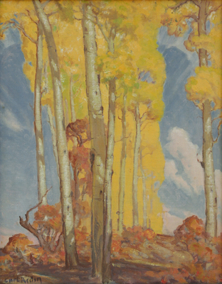 "Carl Redin, Aspens in Fall, Oil on Canvas Board, 16.5"" x 13"""