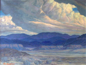 "Carl von Hassler, Left: Looking Towards Jemez, Oil on Canvas, 27"" x 36"""