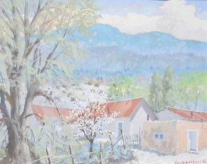 "Carl von Hassler, Springtime New Mexico Valley, c. 1930, Acid Tempera, 16"" x 20"""