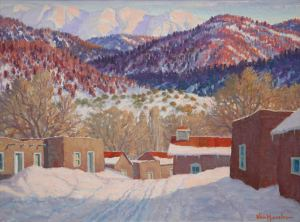 "Carl von Hassler,  Sundown in Winter, March 27, 1939 Oil on Canvas 18"" x 24"", Foothills Sangre De Christo Range New Mexico"