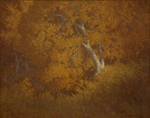 "Carl E. Woolsey, Autumn Splendor, Oil on Canvas, c. 1920, 16"" x 20"""