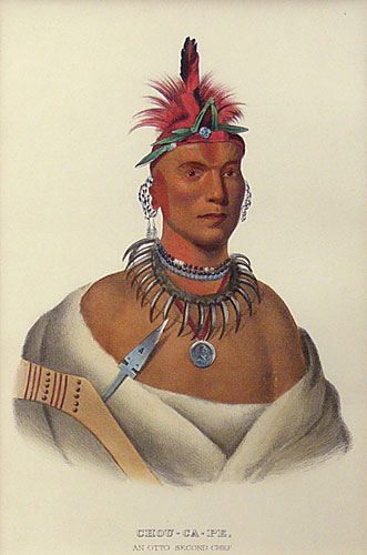 "Charles Bird King, Thomas Loraine McKenney, James Hall lithographic Print, Chou-Ca-Pe, An Otto Second Chief, 9"" x 6"""