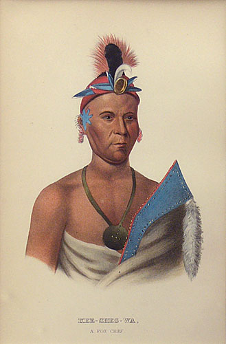 "Charles Bird King, Thomas Loraine McKenney, James Hall lithographic Print, Kee-Shes-Wa, A Fox Chief, 9"" x 6"""