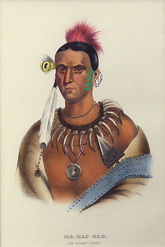 "Charles Bird King, Thomas Loraine McKenney, James Hall lithographic Print, Ma-Has-Kah, An Ioway Chief, 9"" x 6"""